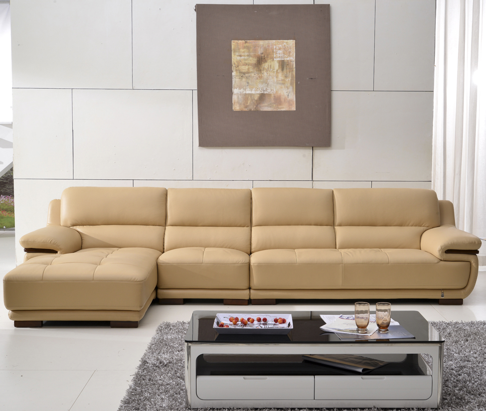 Yang ming ju beige imported first layer of leather sofa leather corner sofa combination living room minimalist modern leisure