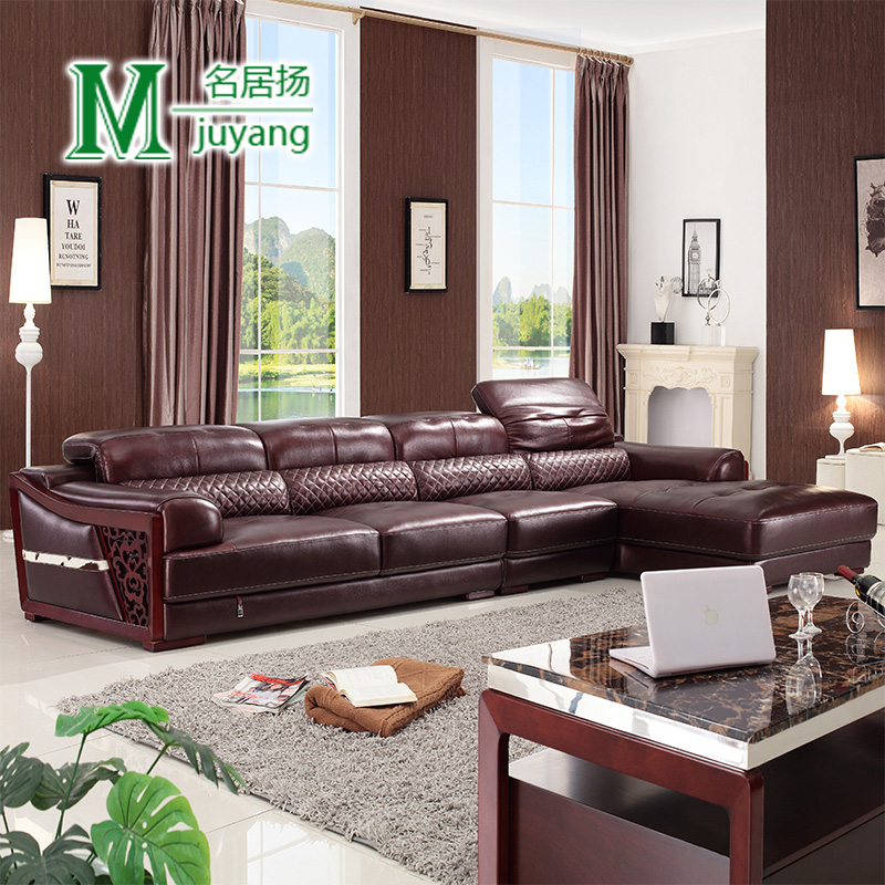 Yang ming ju modern minimalist lounge in brownish red imported the first layer of cow leather thick leather sofa living room sofa