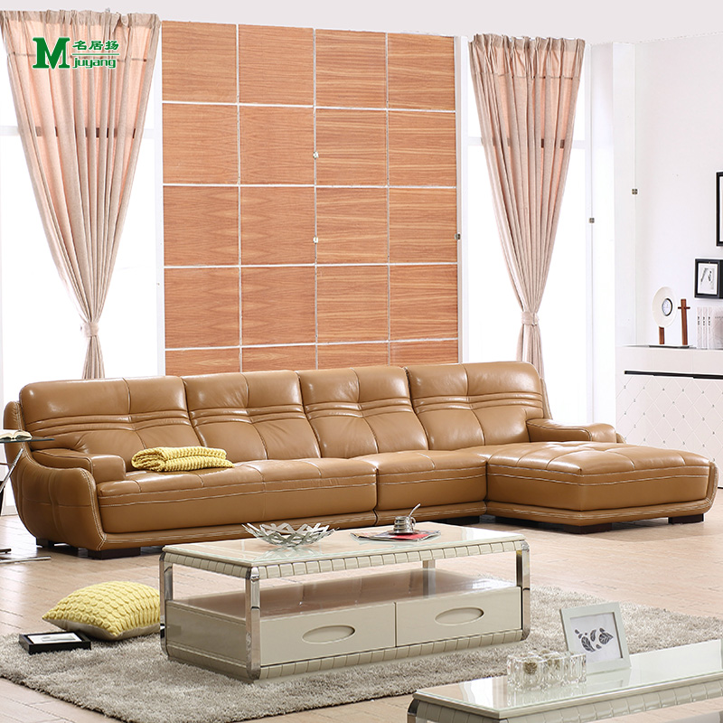 Yang ming ju simple casual khaki leather living room combination corner leather sofas imported the first layer of cow leather
