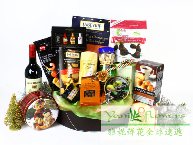Yani christmas gift baskets express hong kong royal expensive luxury gift gourmet blue red wine Macau gift blue city