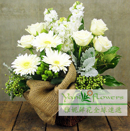 Yani international sympathy flowers flower shop services australia喪喪殯memorial wreath mourning ritual burial ceremony a bouquet of flowers Basket