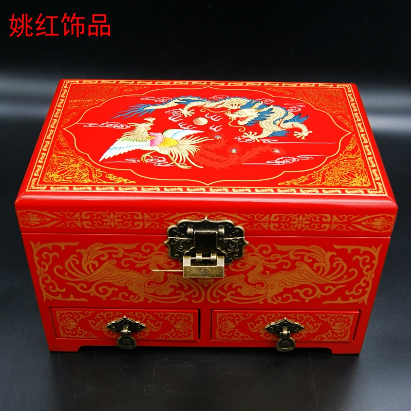 Yao hong jewelry boutique push light lacquer wooden jewelry storage box wedding gift dragon and phoenix chinese wind