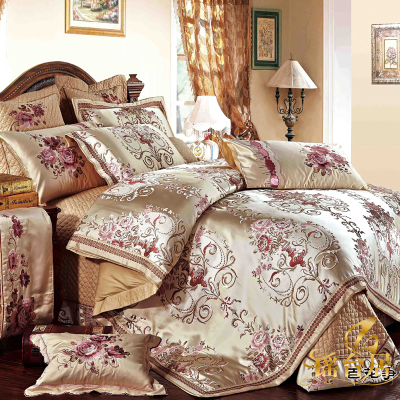 Yaotai ranking european luxury model room bedding satin jacquard bedding ten kits 8y-f