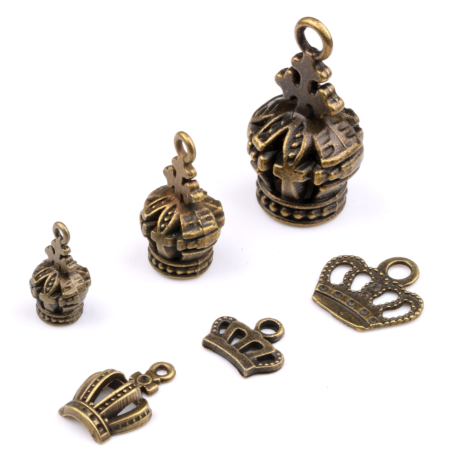 Ye ya diy handmade jewelry materials small pendant ornaments antique bronze crown alloy beaded accessories