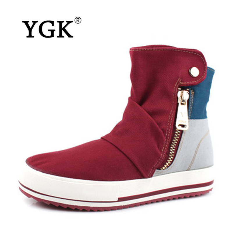 Ygk genuine female summer summer new canvas shoes women shoes side zipper high help students casual shoes 5212