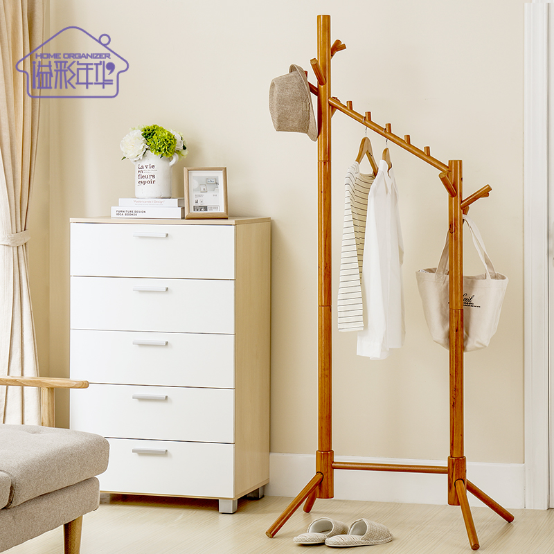 Yi cai love all solid wood coat rack bedroom versatile rubber multifunction wood hangers for hanging clothes rack