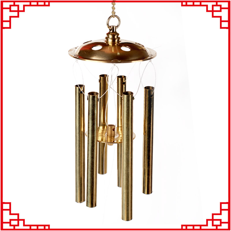 Yi kun court opening copper feng shui wind chimes six copper bells of five yellow two black evil security and family safe Campanula