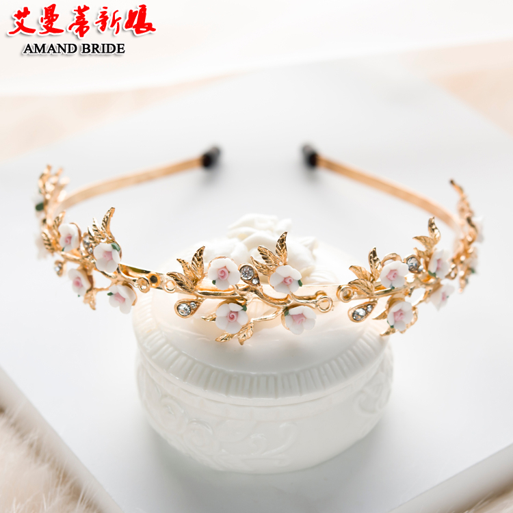 Yi mandi bride headdress hair bands retro baroque palace golden crown wedding hair accessories with jewelry studio