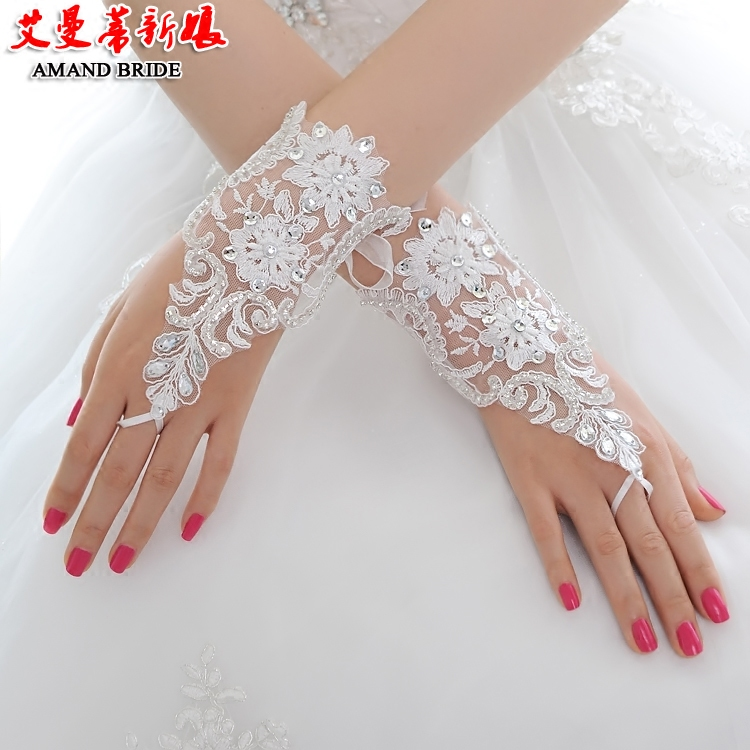 Yi mandi bride wedding fingerless lace gloves short paragraph lace gloves wedding lace wedding dress with ornaments 98