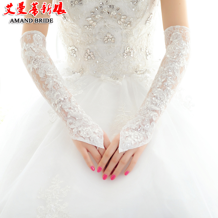 Get Quotations Yi Mandi Bride Wedding Fingerless Lace Gloves White Long Section Was