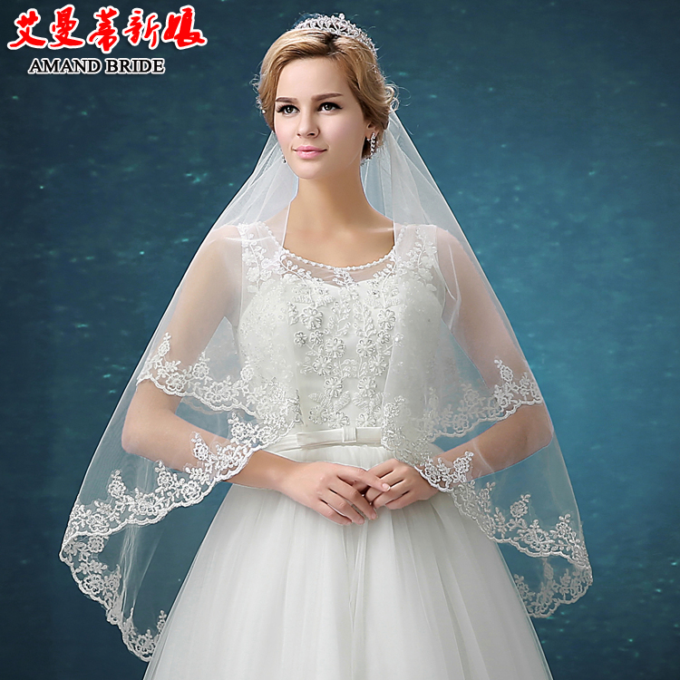 Yi mandi new car bone lace bridal veil lace bridal veil wedding accessories wedding yarn wedding dress short paragraph 75