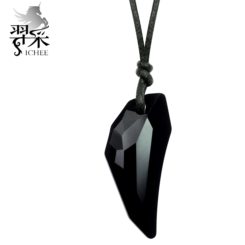 Yi mining spike black crystal jewelry in europe and america personality domineering men jewelry necklace pendant