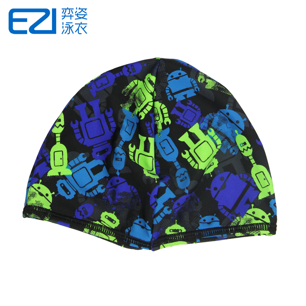 Yi pose new ezi cute korean children robot printing swimming cap swimming cap male and sun bathing cap 8202