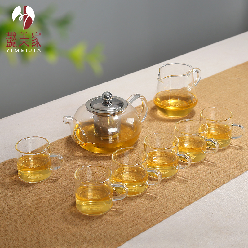 Yi us home quality elegant cup heat resistant glass flower pot teapot filter teapot exquisite cup of tea chongcha
