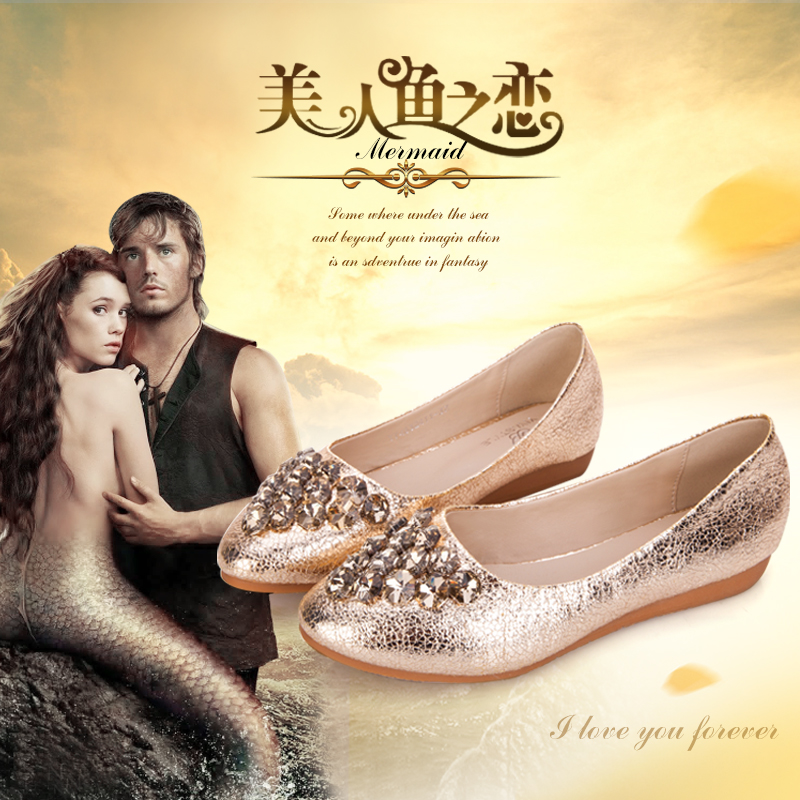 Yi ya shoes spring new shoes flat stones golden burst crack pointed single shoes with flat shoes and comfortable work shoes