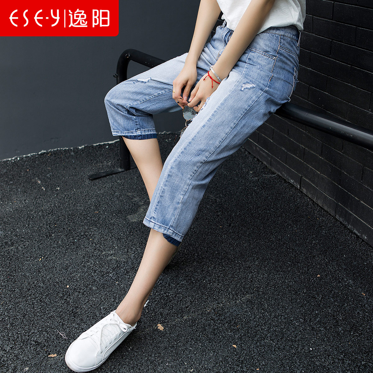 a3f2aaba5fc4 Get Quotations · Yi yang pants 2016 new summer half colored hole jeans  pants female eighths wide leg pants