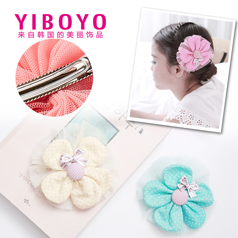 Yiboyo korea imported children girls polka dot flowers side clip bangs clip hair ornaments head ornaments hairpin side clip