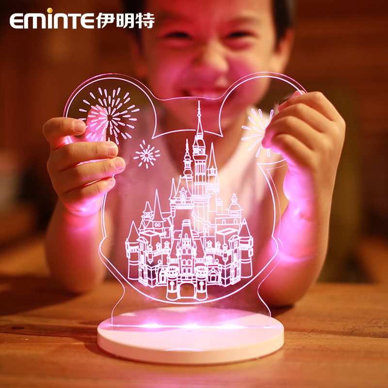 Yiming te creative stereoscopic 3d remote control led rechargeable night light atmosphere swan children's cartoon valentine's day gift