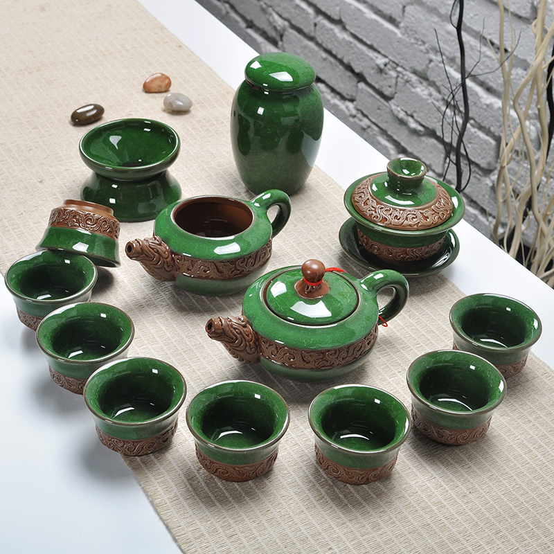 Ying xin ceramic tureen kung fu tea set binglie glaze ceramic teapot with strainer tea strainers tea fair cup small cup
