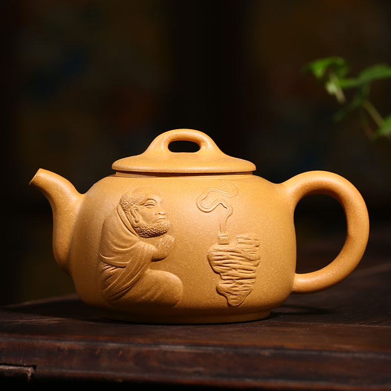 Yixing teapot ore pure handmade teapot yixing teapot famous state workers of the hill section of mud foam carving zen tea blindly Tea sets