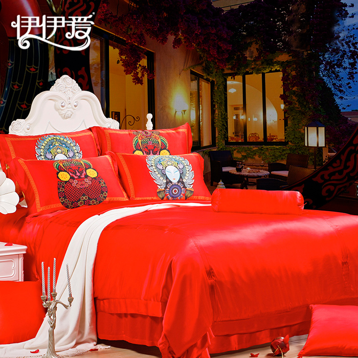 Yiyi love silk denim 100% mulberry silk textile wedding bedding red wedding suite