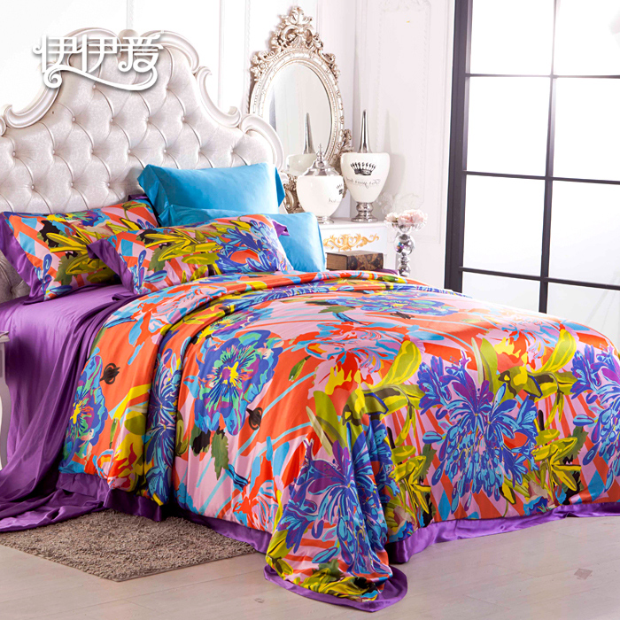 Yiyi love silk denim 100% sided silk bedding wedding suite 4 sets