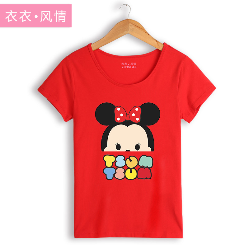 Yiyi style summer new korean students cute cartoon sleeve blouses short sleeve t-shirt female korean version of mickey