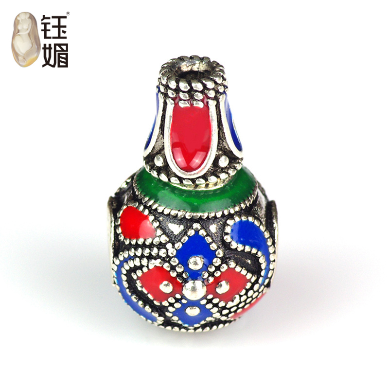 Yu mei 925 silver silver tire handmade filigree cloisonne enamel colorful petals buddha head 925 silver accessories