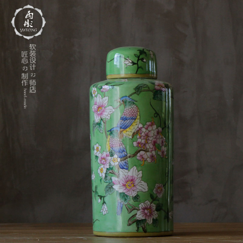 Yu tong home | jingdezhen ceramics green background binglie round cans euclidian pastel flowers and living room/porch ornaments