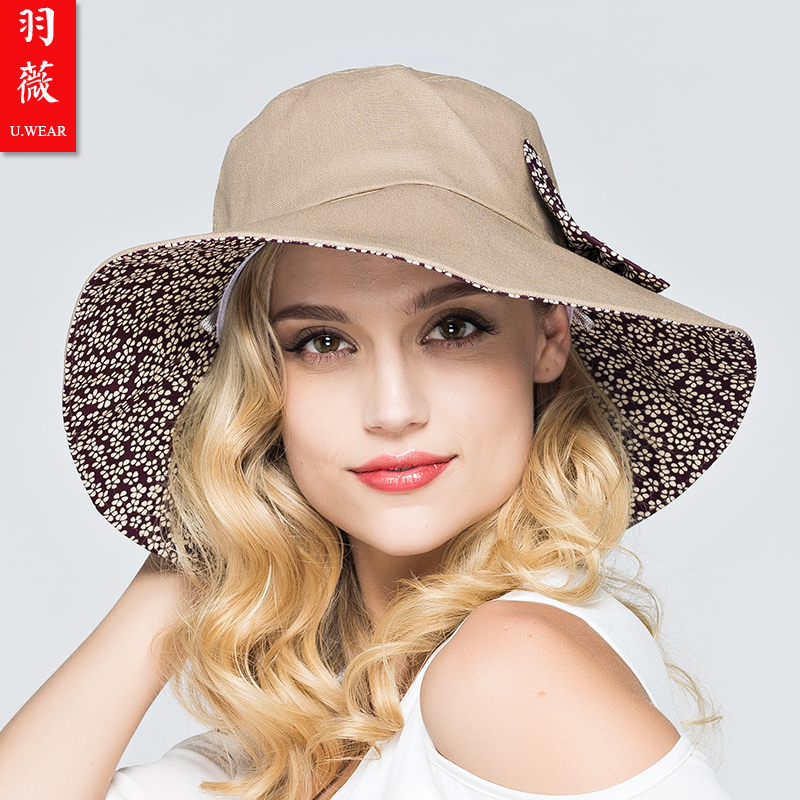 Yu wei color uv sun visor hat female female summer sun hat sun hat large brimmed sun hat female summer cover Hat