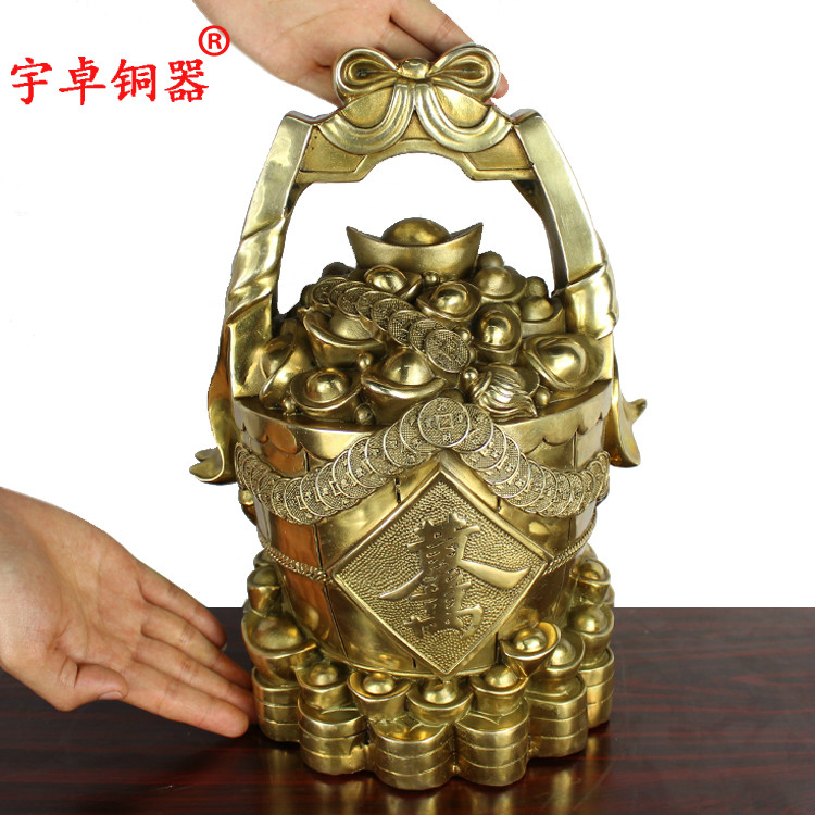Yu zhuo a bucket of gold huangjinwanliang bronze copper copper pot of gold ornaments crafts home decor furnishings