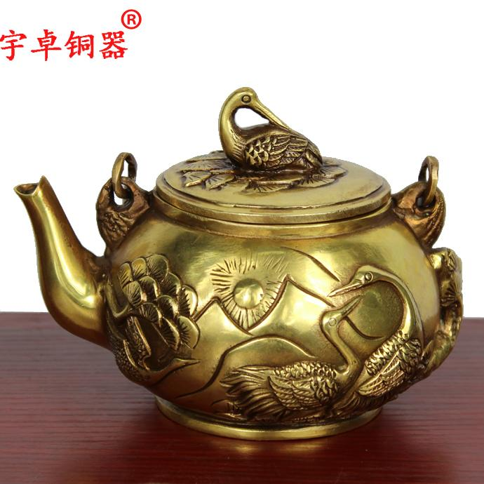 Yu zhuo brassware brassware crowned crane copper jug copper teapot copper pot copper pot ornaments creative gifts