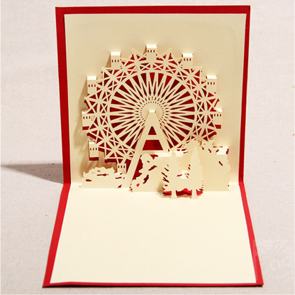 Yuansheng stereoscopic 3d ferris wheel friendship love confession blessing korea creative handmade paper sculpture greeting cards custom