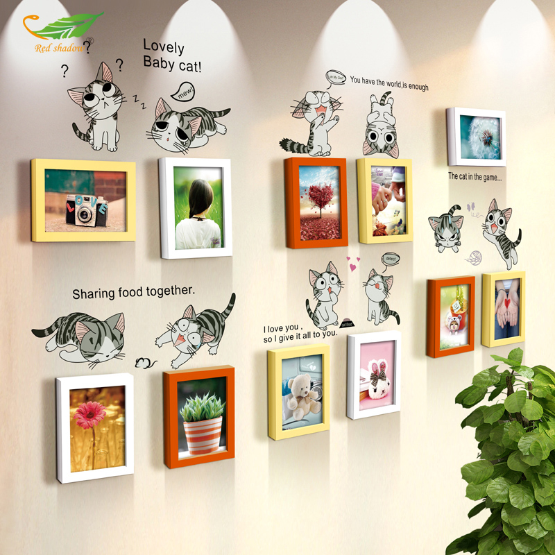 Yue color 11 box 7 inch wood frame wall combination of creative home decor cafe restaurant guest bedroom photo wall frame