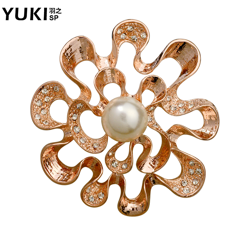 Yuki brooch female korean temperament wild pearl crystal brooch pin brooch sweater original design jewelry