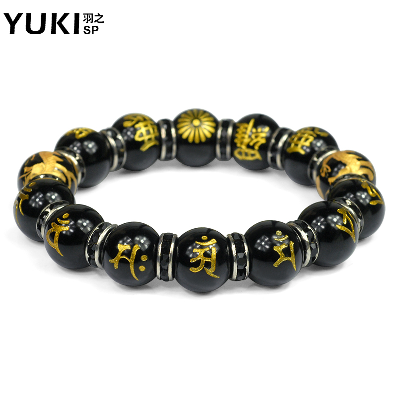 Yuki men's japanese original design jewelry fortune natural black onyx crystal bracelet evil luo hipsters shouzhu