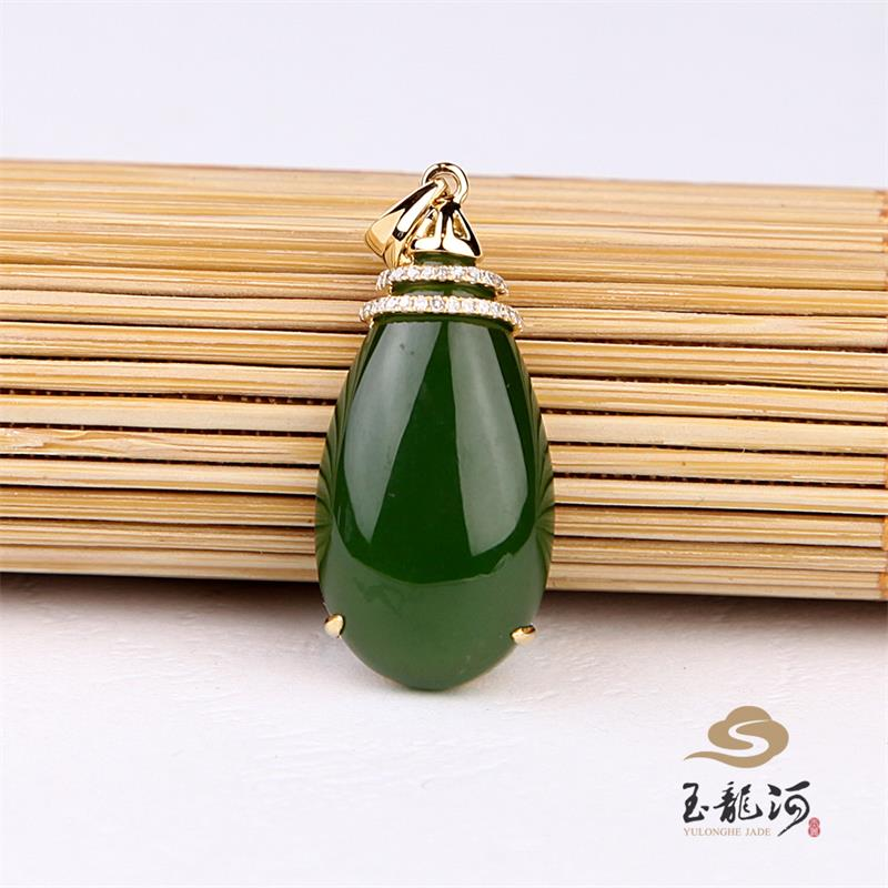 Yulong river jade and nephrite jade spinach green jade pendant k gold inlaid diamond water drop pendant female models certificate