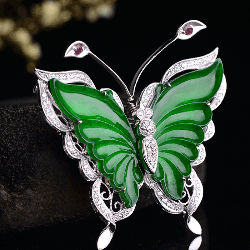 Yun chi k inlaid jade butterfly pendant diamond natural old crater ice types a cargo full of green jade pendant brooch a0390