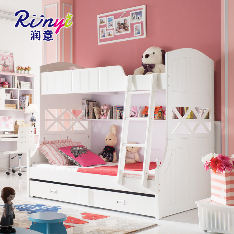Yun italian modern minimalist multifunction wood picture bed bunk bed children's furniture double layer bed bunk bed mediterranean