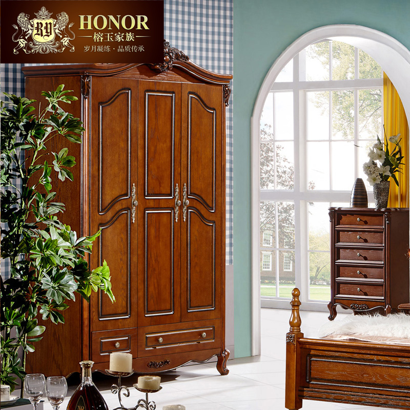 Yung yu family american neoclassical european solid wood three drawer wardrobe door wardrobe armoire cloakroom lockers f3'