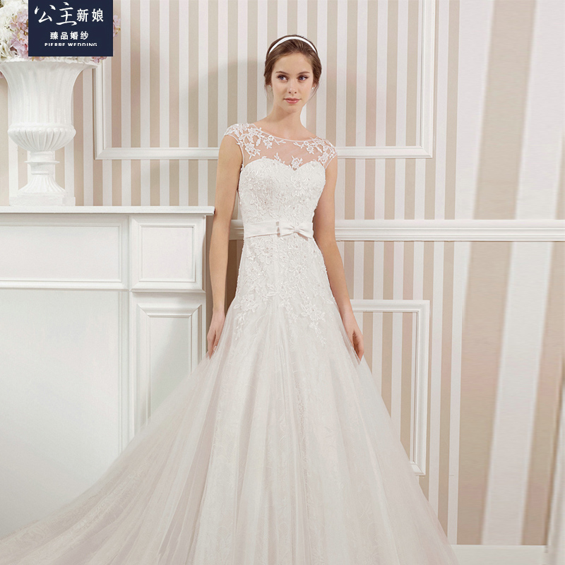 Yushoukuan princess bride wedding dress 2016 new word shoulder lace trailing wedding dress trailing wedding dress body repair