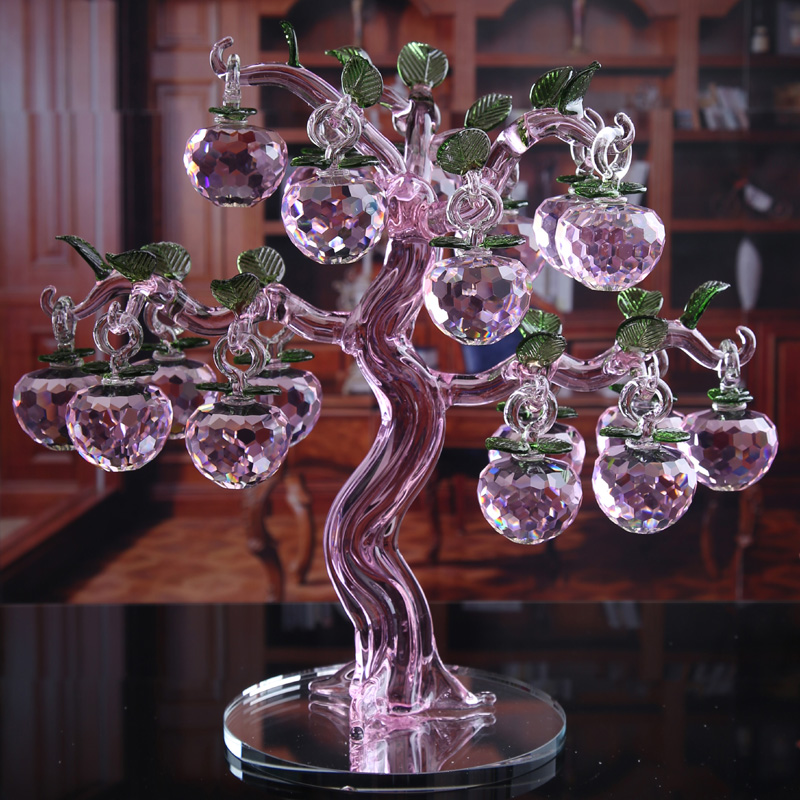 Yuxin european creative wedding gift crystal apple tree ornaments home decorations living room wine cabinet tv cabinet