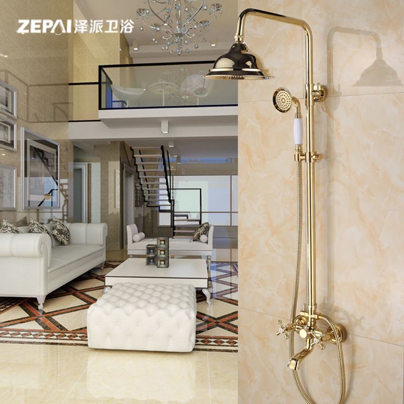 Ze faction european gold antique copper shower suite full bath shower suite full bathroom shower faucet can lift