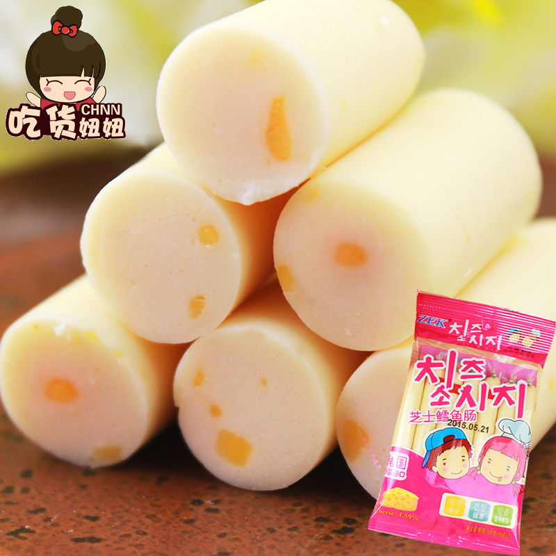 Zek cod intestine cheese 105g 7 8æ ¹bagged korea zero import food for children cod guts guts korea