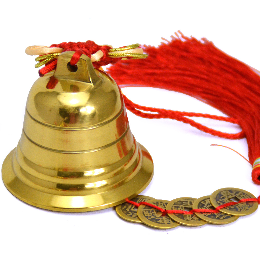 Zen court opening copper copper bell with five emperors money pendant defuse five yellow evil wind chimes ornaments home decorations