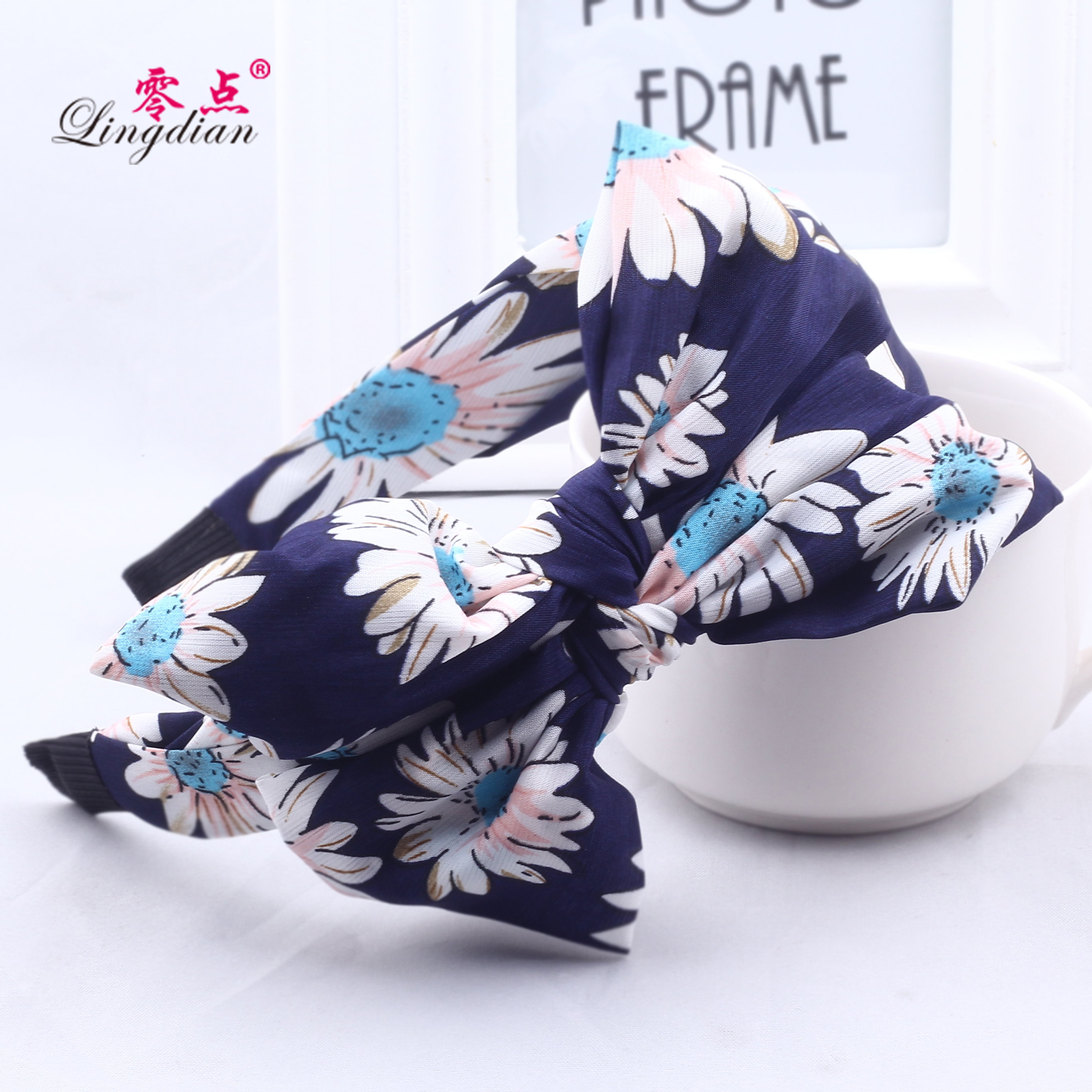 Zero bohemian silk cloth ribbon headband korean broadside big bow headband wide headband hair band hairpin