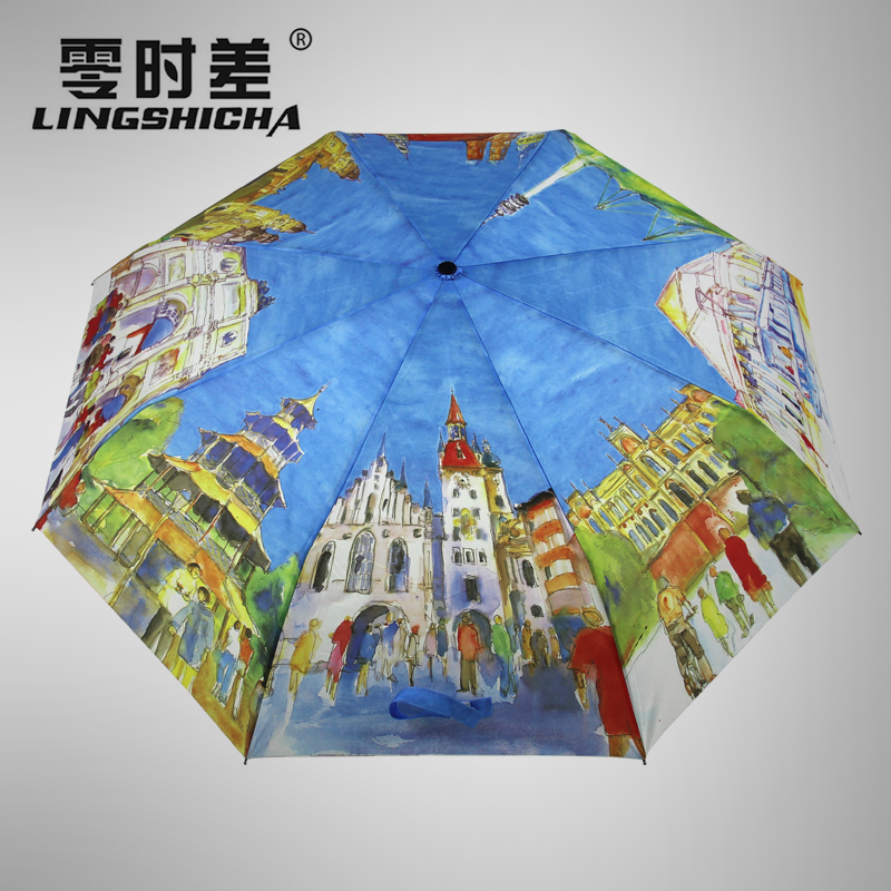 Zero lag painting umbrella automatic umbrella folding umbrella creative men and women folded umbrella rain or shine umbrella landscape in eight european countries Umbrella