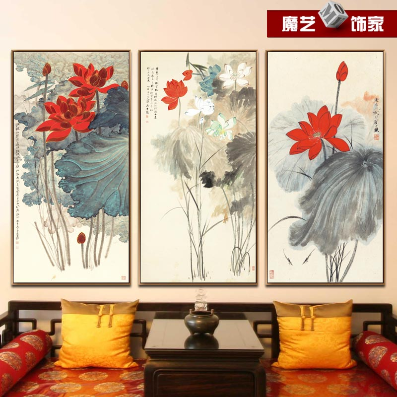 Zhang daqian new chinese decorative painting the living room lotus ink painting framed paintings den entrance mural paintings