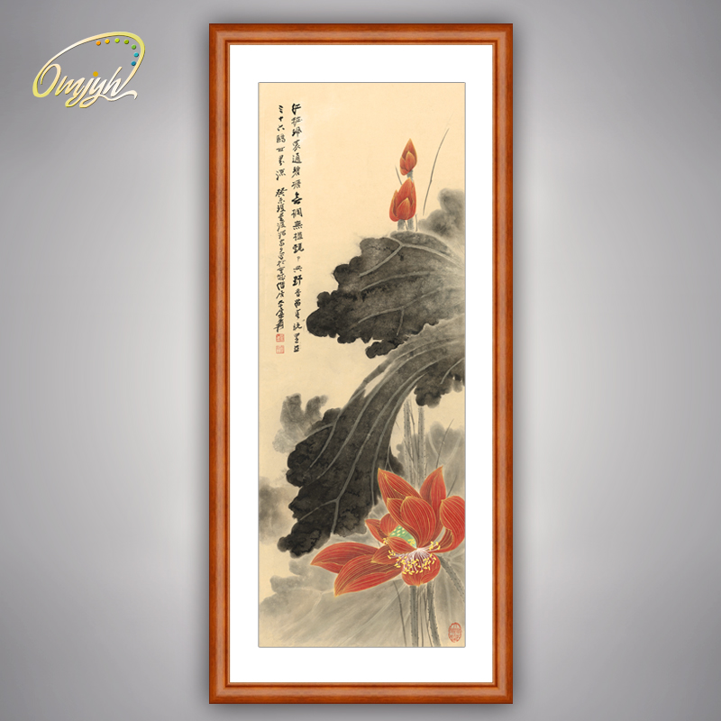 Zhang daqian painting bird painting ink lotus restaurant entrance corridor study decorative painting calligraphy painting