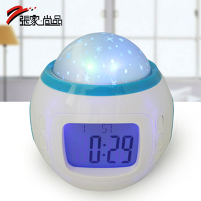 Zhang shangpin romantic music star projection clock projection clock mute creative fashion night photoelectric sub bedside alarm clock zhong xuesheng